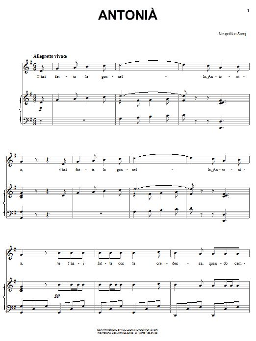 Neapolitan Song Antonia sheet music notes and chords. Download Printable PDF.
