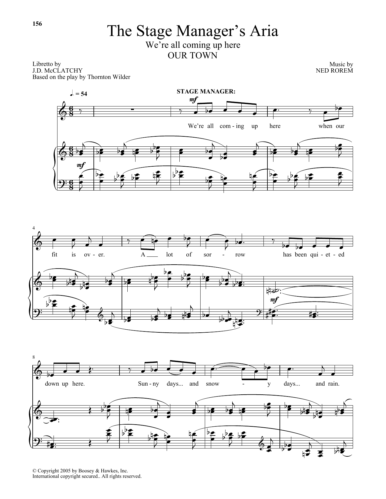 Ned Rorem The Stage Manager's Aria sheet music notes and chords. Download Printable PDF.