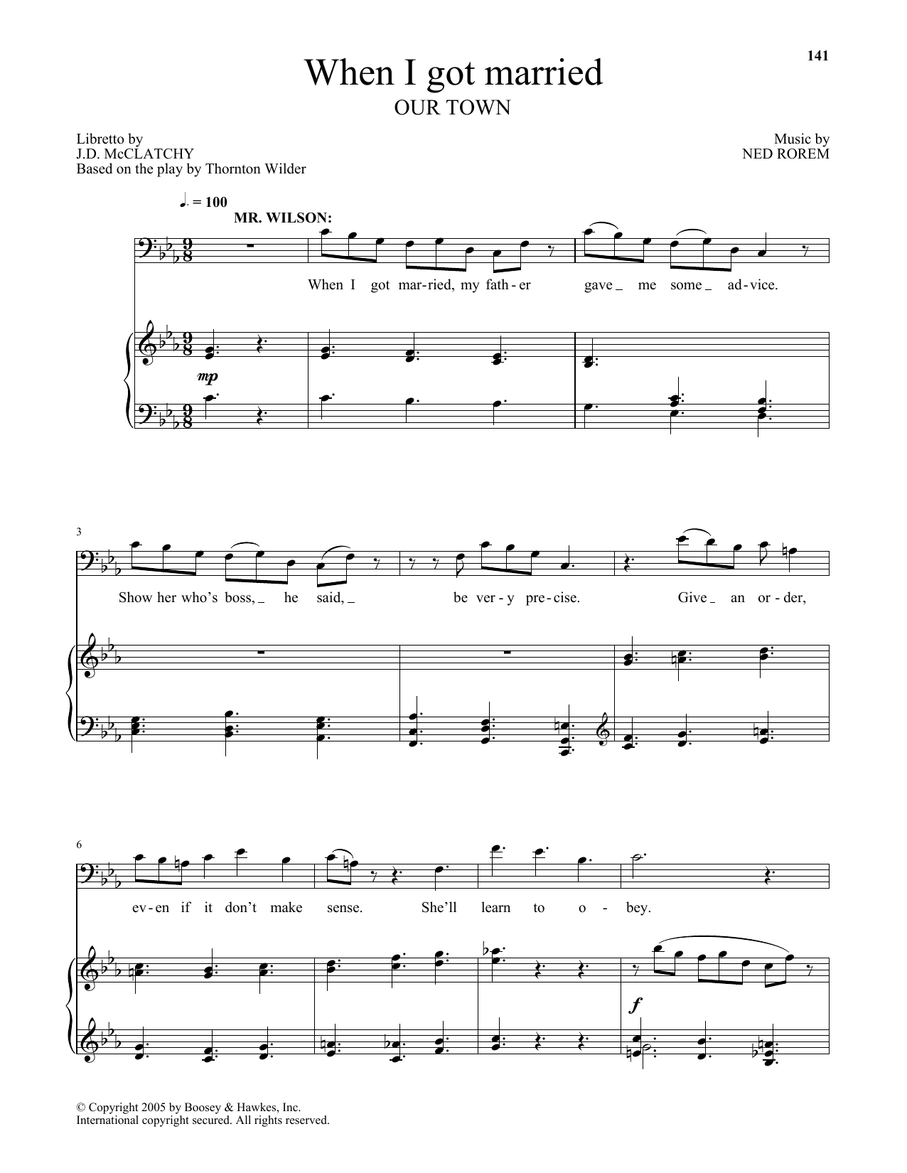 Ned Rorem When I got married (from Our Town) sheet music notes and chords. Download Printable PDF.