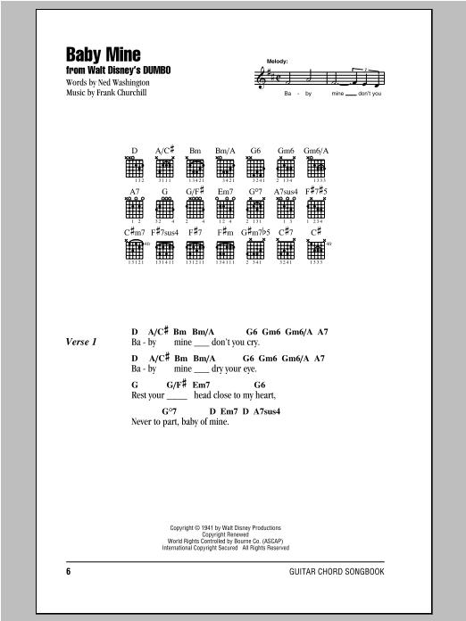 Ned Washington Baby Mine (from Walt Disney's Dumbo) sheet music notes and chords