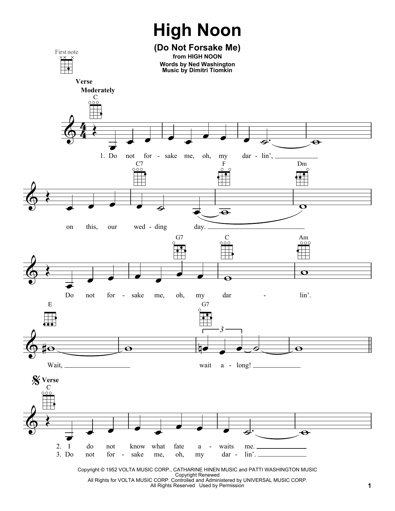 Ned Washington High Noon (Do Not Forsake Me) sheet music notes and chords. Download Printable PDF.
