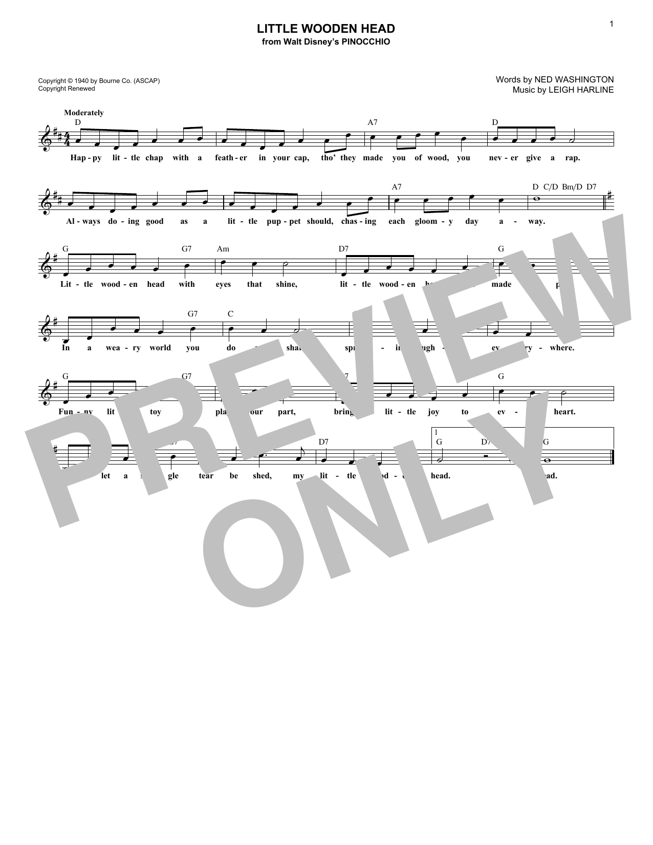 Ned Washington Little Wooden Head sheet music notes and chords. Download Printable PDF.