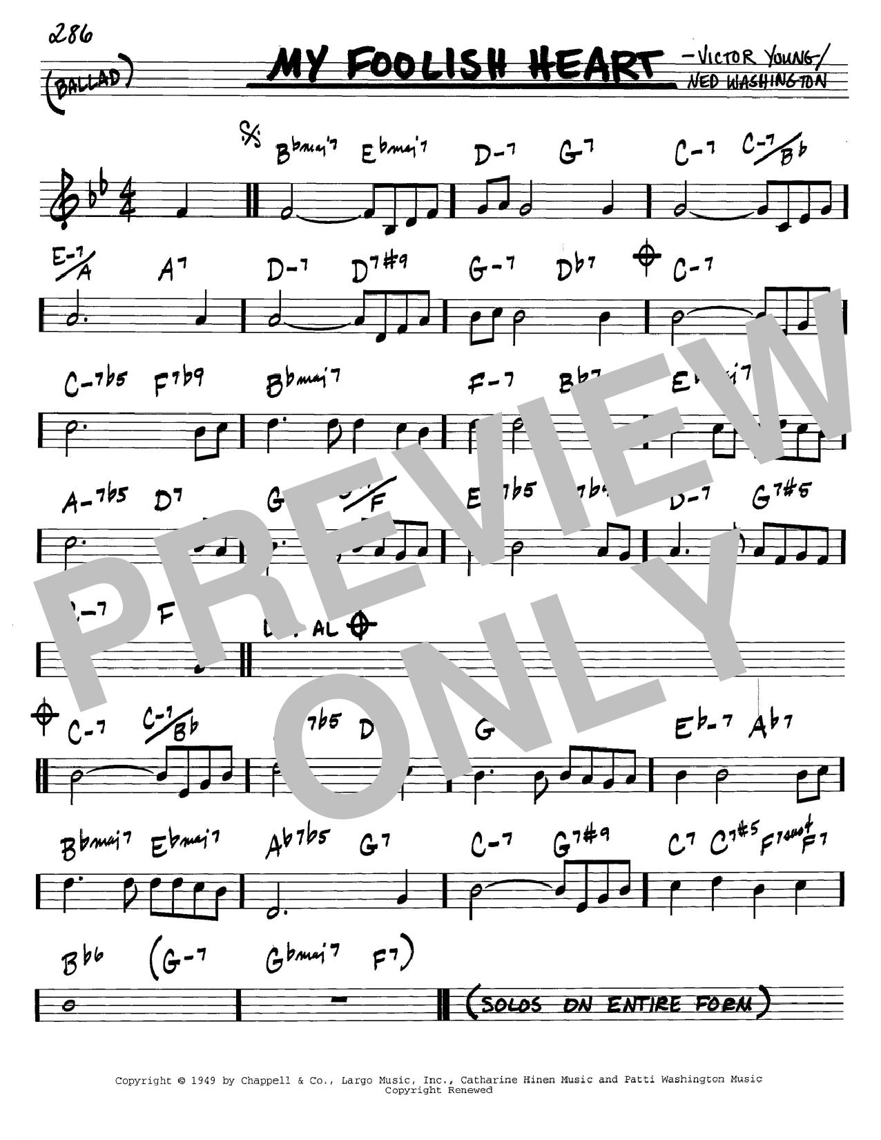 Ned Washington My Foolish Heart sheet music notes and chords