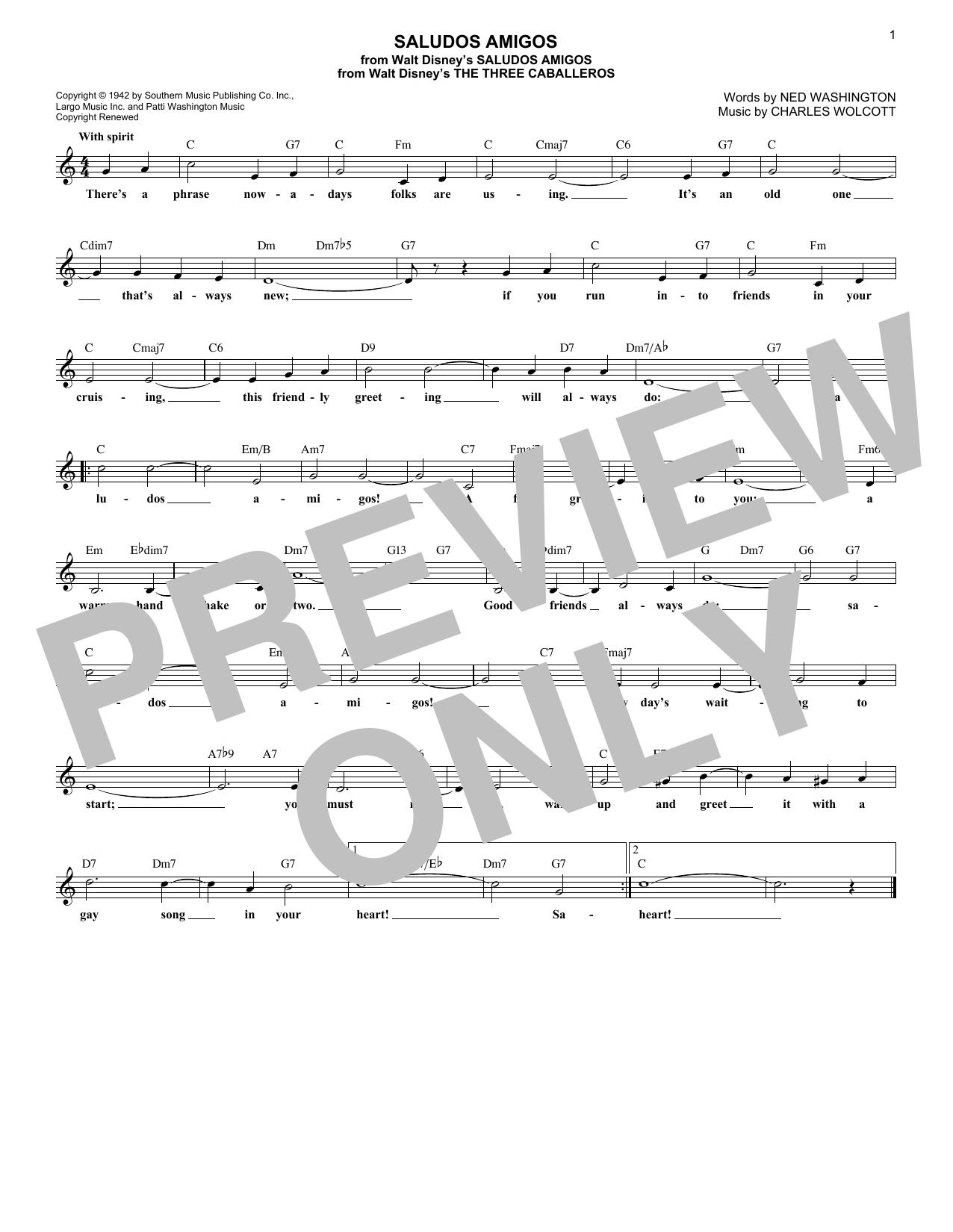 Ned Washington Saludos Amigos sheet music notes and chords. Download Printable PDF.