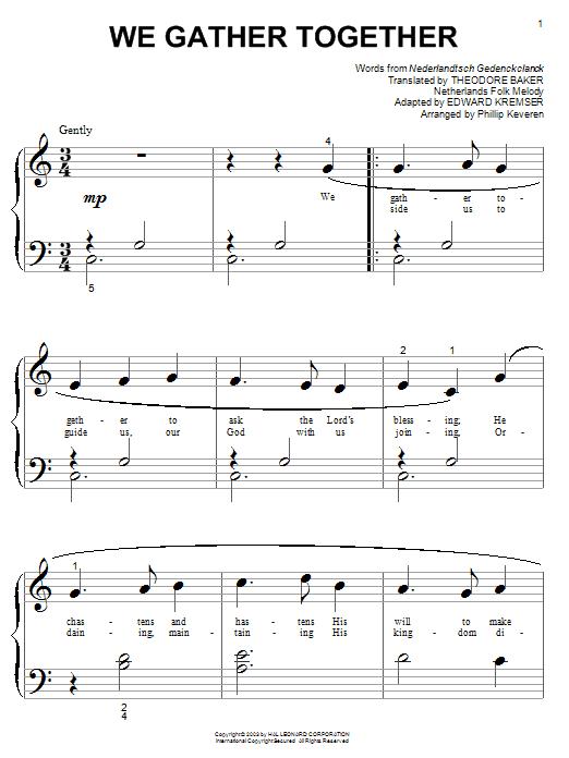Nederlandtsch Gedenckclanck We Gather Together sheet music notes and chords. Download Printable PDF.
