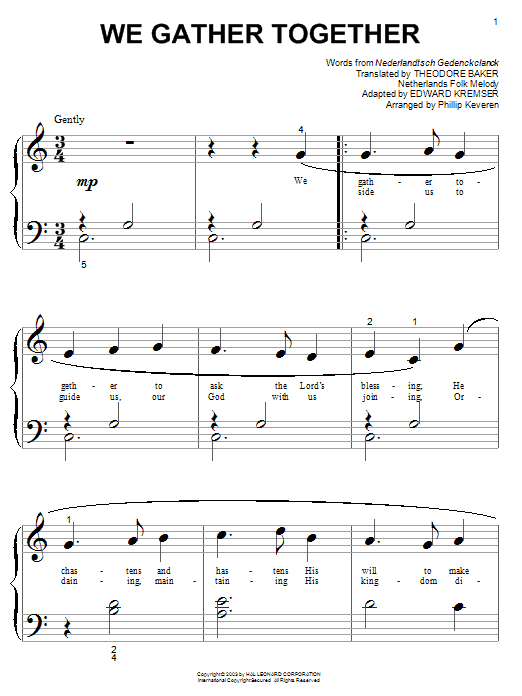 Nederlandtsch Gedenckclanck We Gather Together sheet music notes and chords. Download Printable PDF.