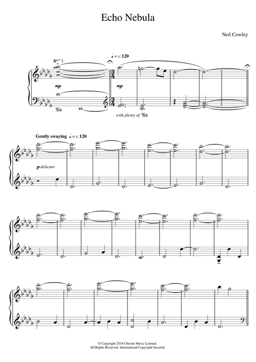 Neil Cowley Trio Echo Nebula sheet music notes and chords. Download Printable PDF.