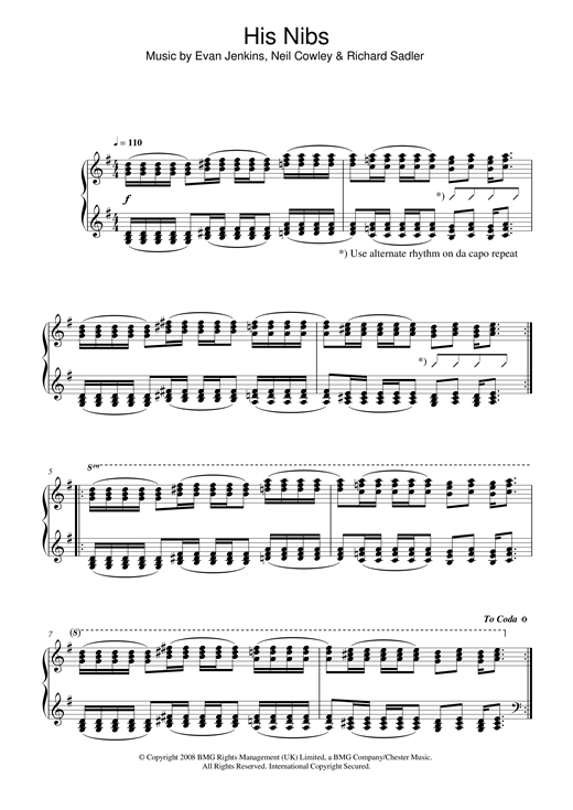 Neil Cowley Trio His Nibs sheet music notes and chords. Download Printable PDF.