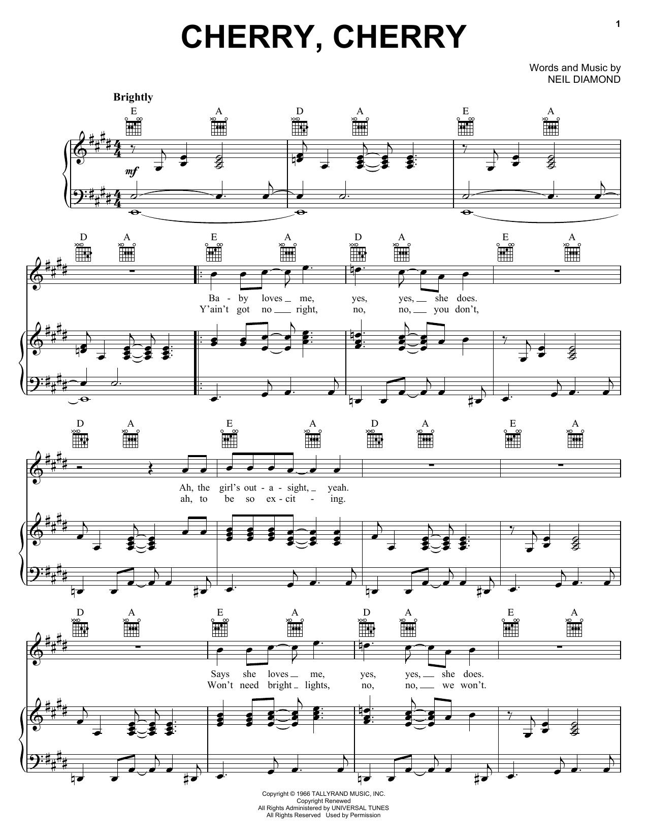 Neil Diamond Cherry, Cherry sheet music notes and chords