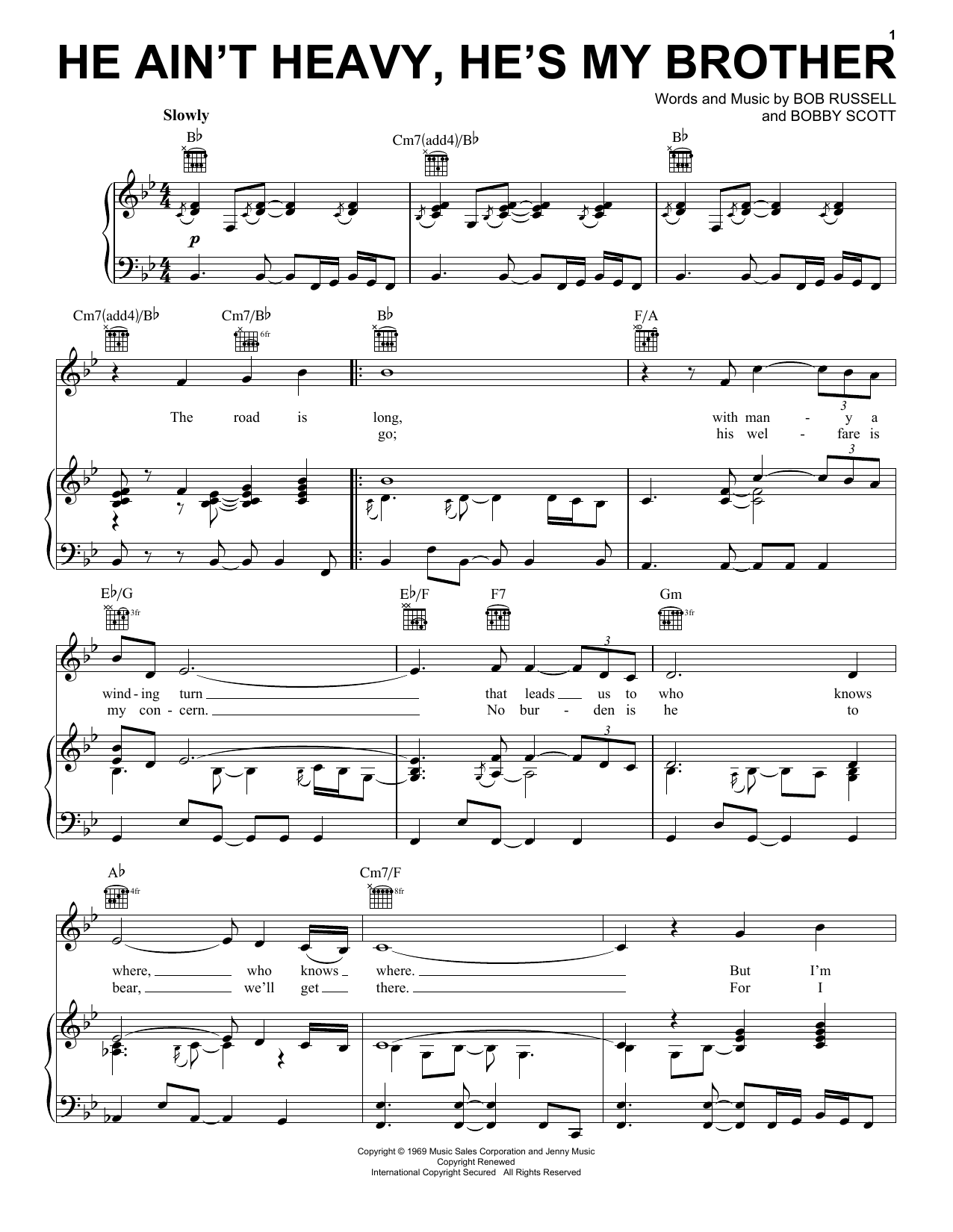 Neil Diamond He Ain't Heavy, He's My Brother sheet music notes and chords. Download Printable PDF.