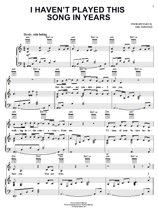 Neil Diamond I Haven't Played This Song In Years sheet music notes and chords