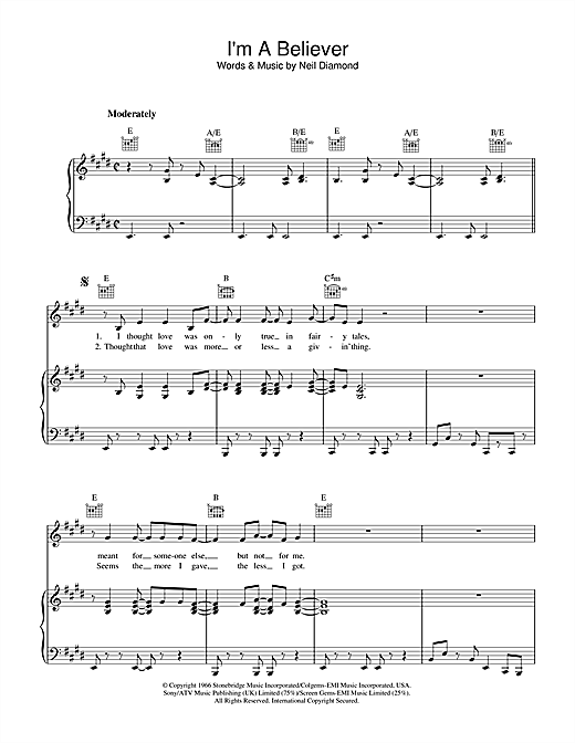Neil Diamond I'm A Believer sheet music notes and chords. Download Printable PDF.