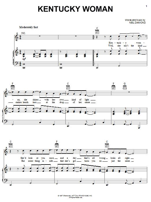 Neil Diamond Kentucky Woman sheet music notes and chords. Download Printable PDF.