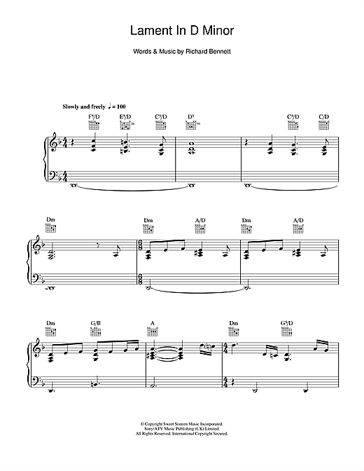 Neil Diamond Lament In D Minor sheet music notes and chords. Download Printable PDF.