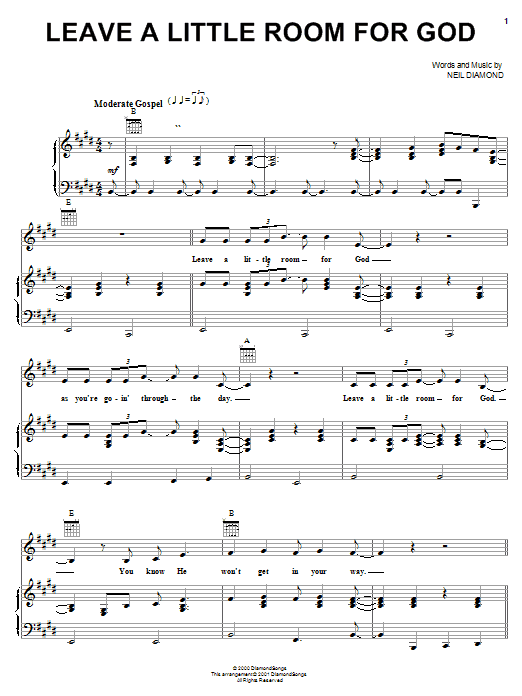 Neil Diamond Leave A Little Room For God sheet music notes and chords