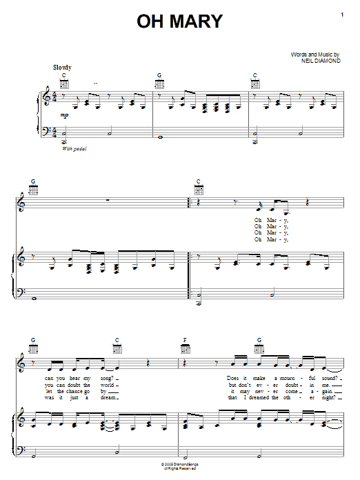 Neil Diamond Oh Mary sheet music notes and chords. Download Printable PDF.
