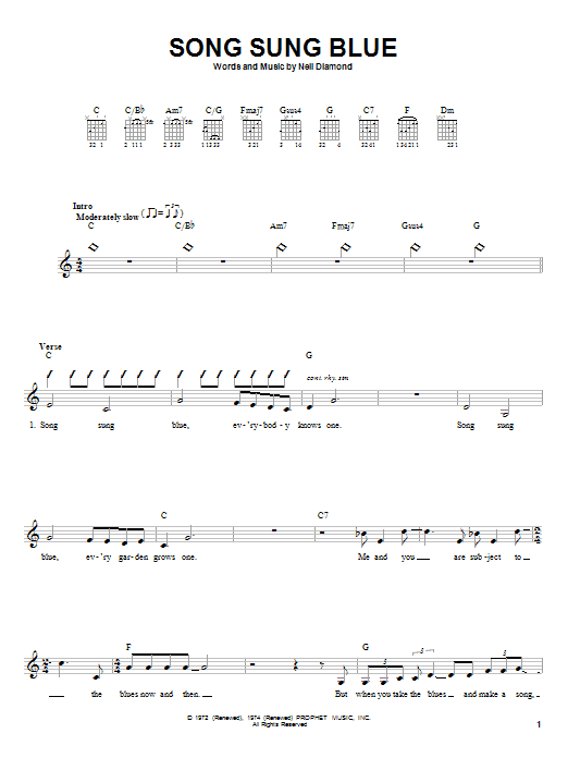 Neil Diamond Song Sung Blue sheet music notes and chords. Download Printable PDF.