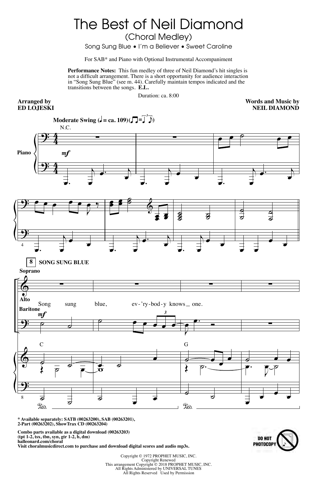 Neil Diamond The Best of Neil Diamond (arr. Ed Lojeski) sheet music notes and chords. Download Printable PDF.