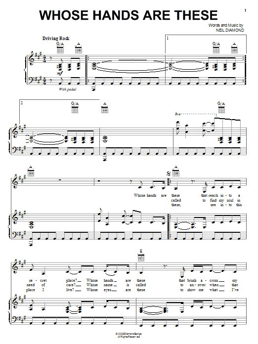 Neil Diamond Whose Hands Are These sheet music notes and chords. Download Printable PDF.