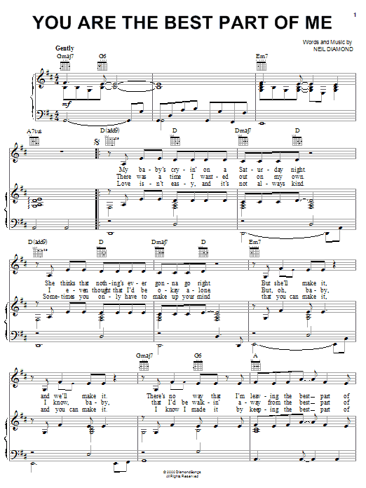 Neil Diamond You Are The Best Part Of Me sheet music notes and chords