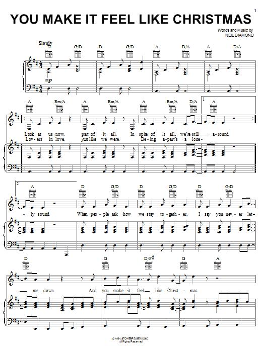Neil Diamond You Make It Feel Like Christmas sheet music notes and chords. Download Printable PDF.
