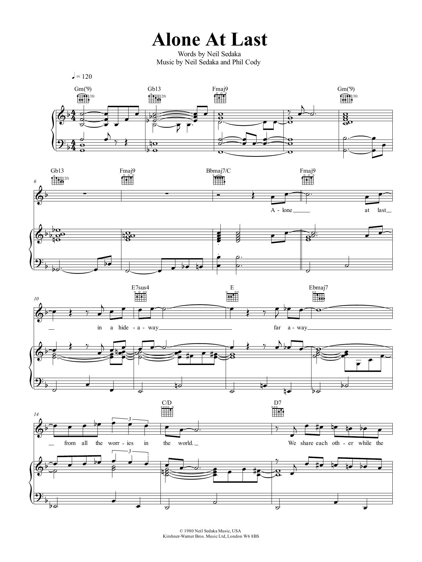 Neil Sedaka Alone At Last sheet music notes and chords. Download Printable PDF.