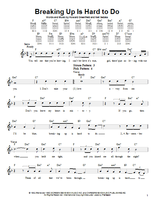 Neil Sedaka Breaking Up Is Hard To Do sheet music notes and chords. Download Printable PDF.