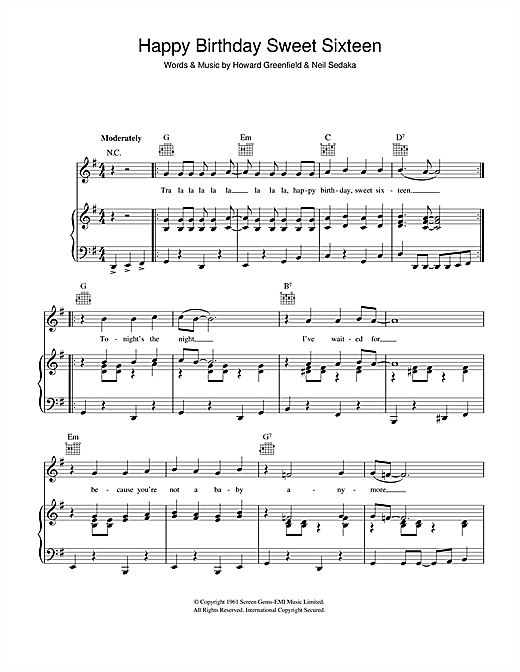Neil Sedaka Happy Birthday Sweet Sixteen Sheet Music Pdf Notes Chords Pop Score Lead Sheet Fake Book Download Printable Sku 187286