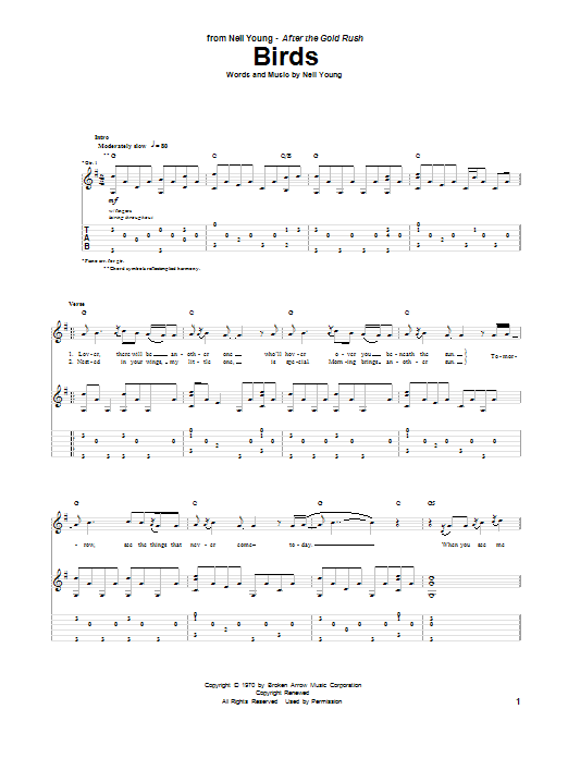 Neil Young Birds sheet music notes and chords. Download Printable PDF.