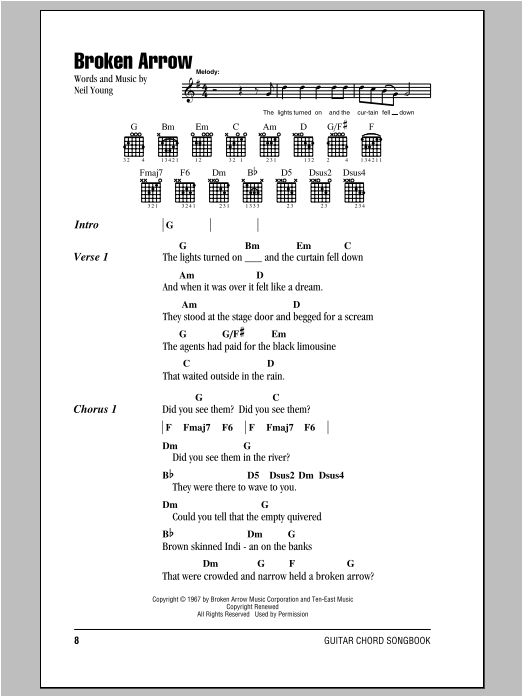Neil Young Broken Arrow sheet music notes and chords. Download Printable PDF.