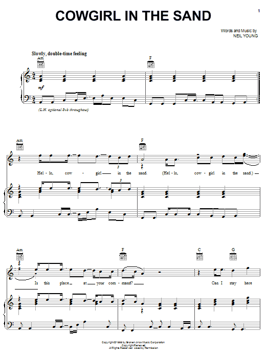 Neil Young Cowgirl In The Sand sheet music notes and chords. Download Printable PDF.