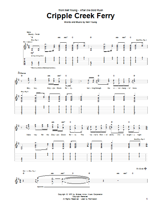 Neil Young Cripple Creek Ferry sheet music notes and chords. Download Printable PDF.