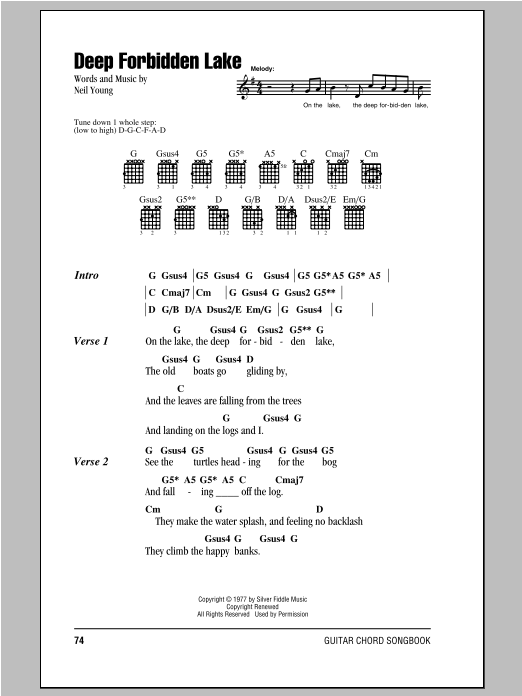 Neil Young Deep Forbidden Lake sheet music notes and chords. Download Printable PDF.