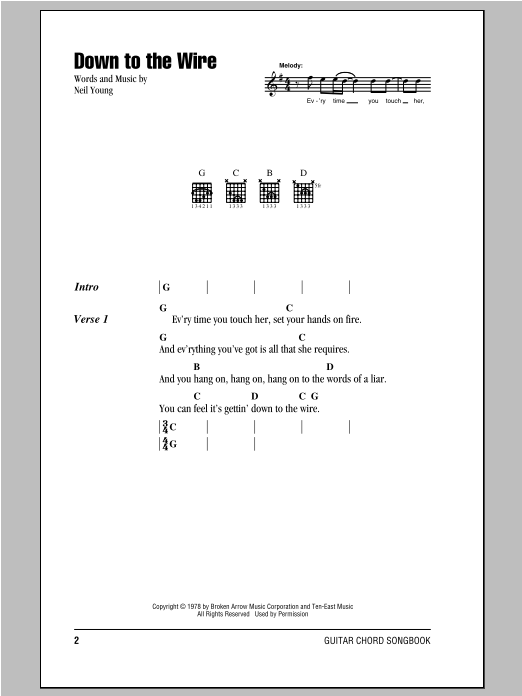 Neil Young Down To The Wire sheet music notes and chords. Download Printable PDF.
