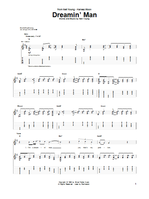 Neil Young Dreamin' Man sheet music notes and chords. Download Printable PDF.
