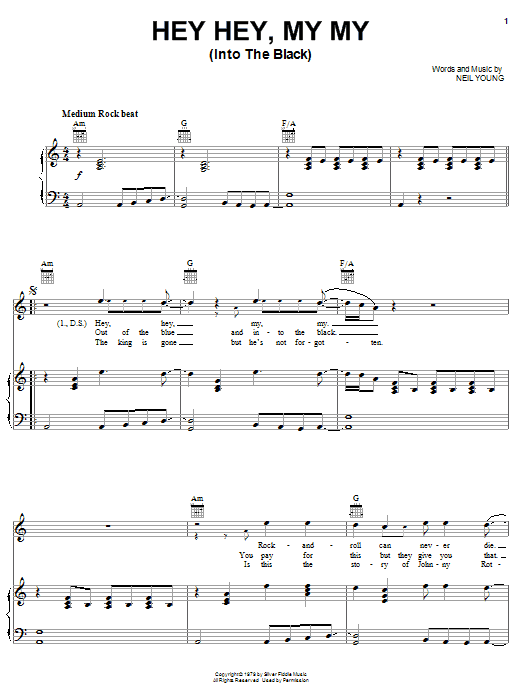 Neil Young Hey Hey, My My (Into The Black) sheet music notes and chords. Download Printable PDF.