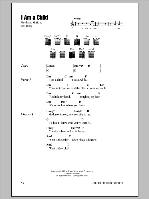 Neil Young I Am A Child sheet music notes and chords. Download Printable PDF.
