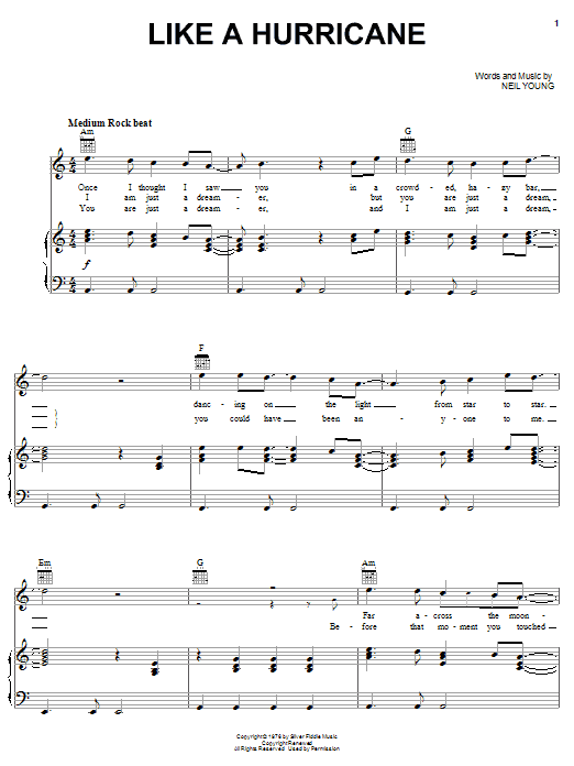 Neil Young Like A Hurricane sheet music notes and chords. Download Printable PDF.