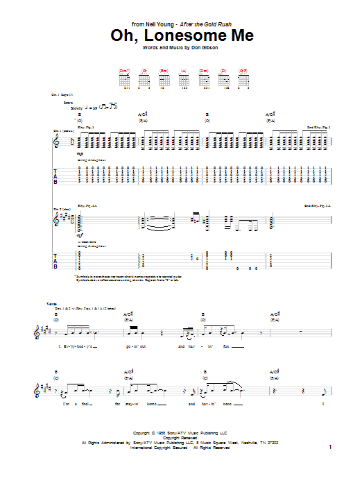 Neil Young Oh, Lonesome Me sheet music notes and chords. Download Printable PDF.