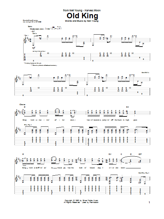 Neil Young Old King sheet music notes and chords. Download Printable PDF.