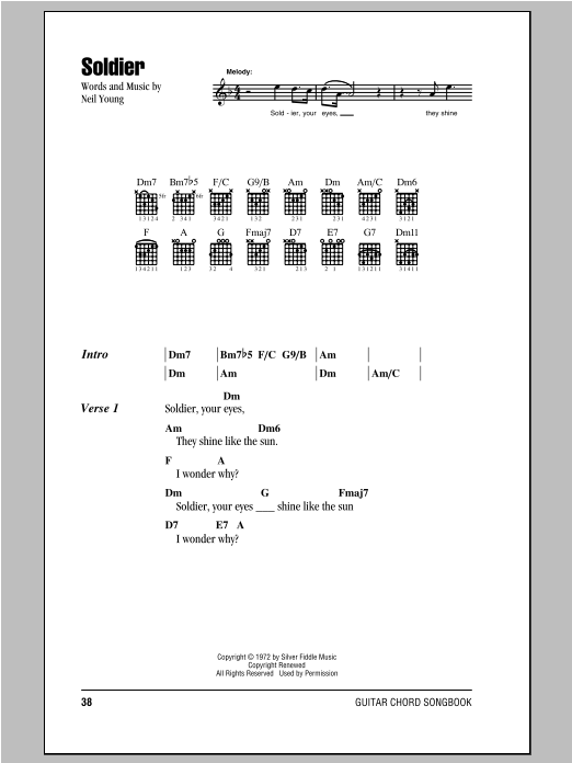 Neil Young Soldier sheet music notes and chords. Download Printable PDF.