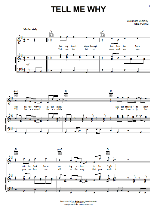 Neil Young Tell Me Why sheet music notes and chords. Download Printable PDF.