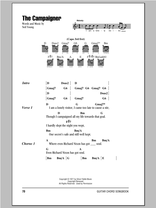 Neil Young The Campaigner sheet music notes and chords. Download Printable PDF.