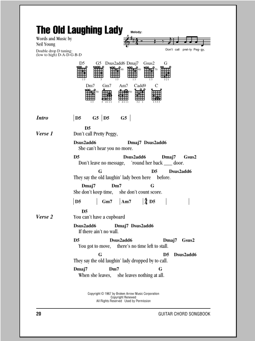 Neil Young The Old Laughing Lady sheet music notes and chords. Download Printable PDF.