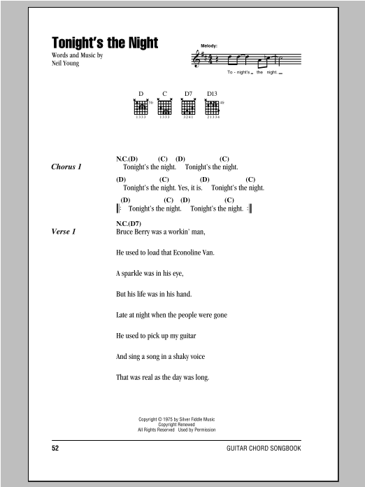 Neil Young Tonight's The Night sheet music notes and chords. Download Printable PDF.