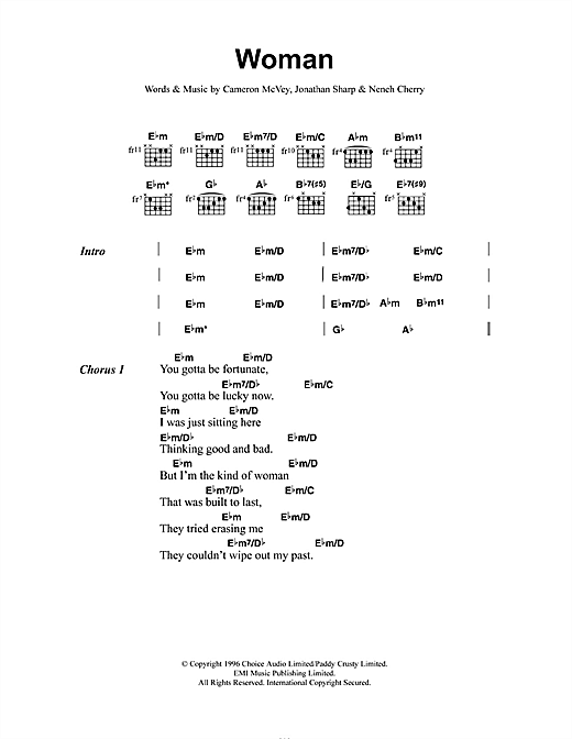 Neneh Cherry Woman sheet music notes and chords. Download Printable PDF.
