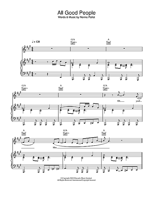 Nerina Pallot All Good People sheet music notes and chords. Download Printable PDF.