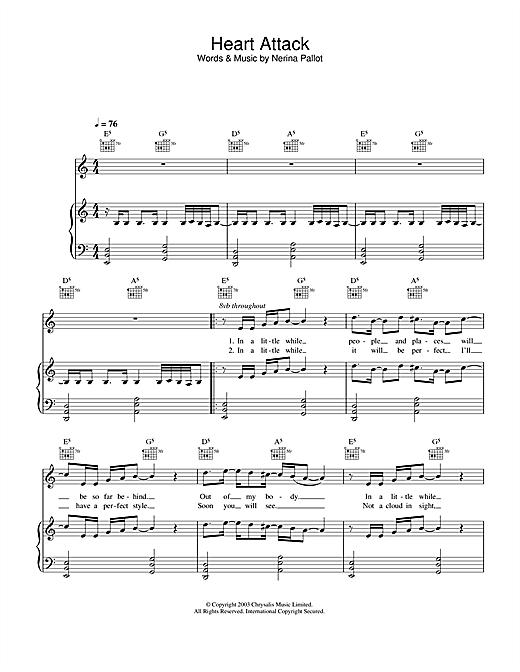 Nerina Pallot Heart Attack sheet music notes and chords. Download Printable PDF.