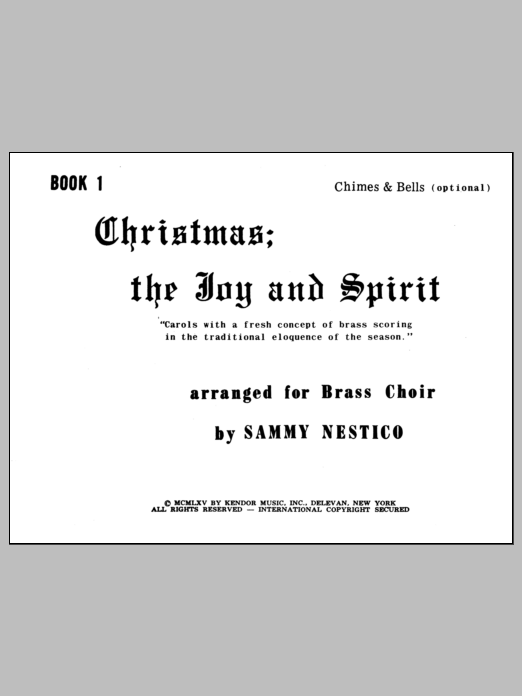 Nestico Christmas; The Joy & Spirit- Book 1/Chimes & Bells (opt.) sheet music notes and chords. Download Printable PDF.