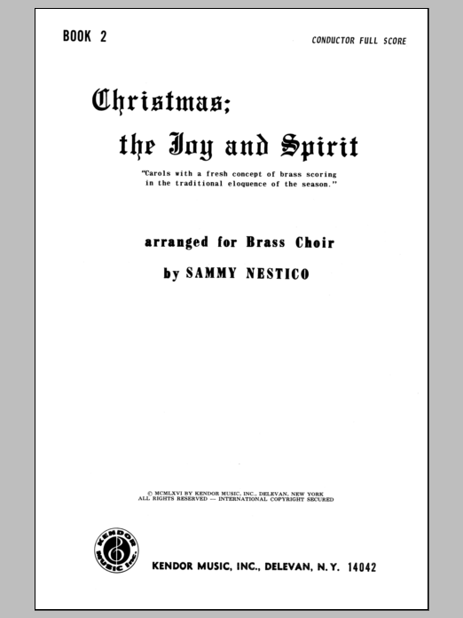 Nestico Christmas; The Joy & Spirit- Book 2/Full Score sheet music notes and chords. Download Printable PDF.